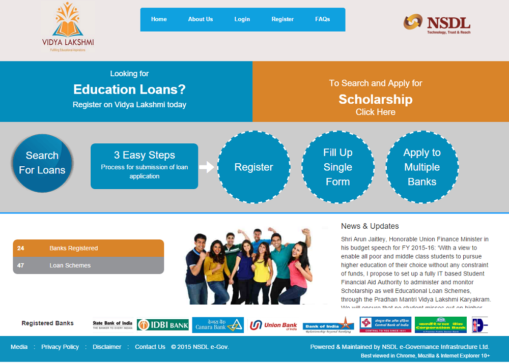 Student Education Loan in India Online at Vidya Lakshmi